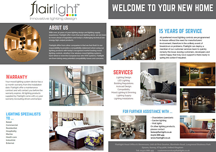 This is the handout that we give to all our new clients😊  Illuminate your space✨ : modern  by Flairlight Designs Ltd, Modern
