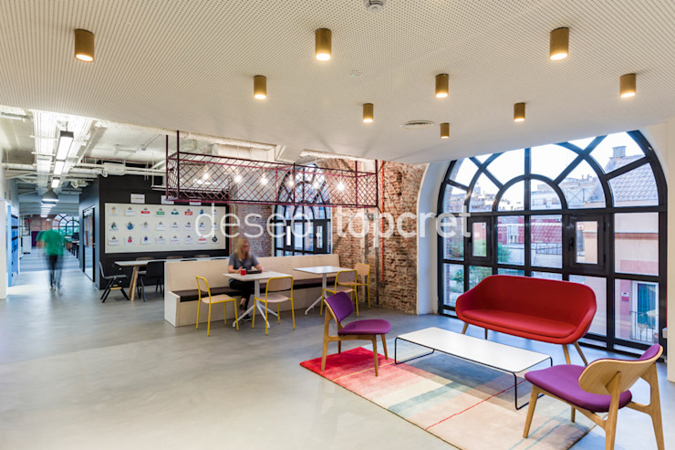 Oficinas BAXAB® Color Acero Topcret Oficinas y bibliotecas de estilo industrial Gris