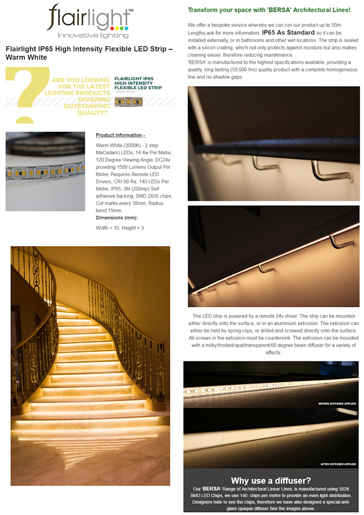 ARE YOU LOOKING FOR OUTSTANDING LIGHTING & QUALITY? 😃 Check out our 'BERSA' Range of Architectural Linear Lines : modern  by Flairlight Designs Ltd, Modern