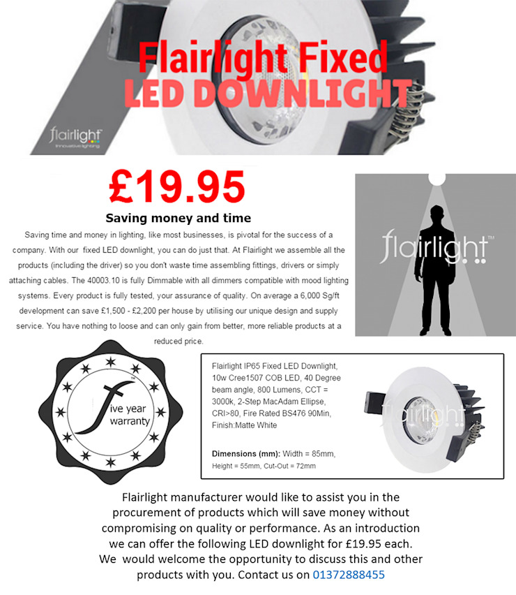 SAVE MONEY & TIME - LED FIXED DOWNLIGHT £19.95😆: minimalist  by Flairlight Designs Ltd, Minimalist