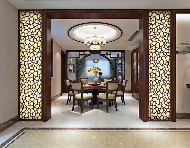 CNC Carving Faux Alabaster in China Asian style dining room by ShellShock Designs Asian Stone