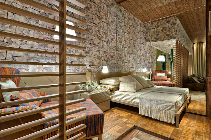 Rustic style bedroom by Luciana Savassi Guimarães arquitetura&interiores Rustic