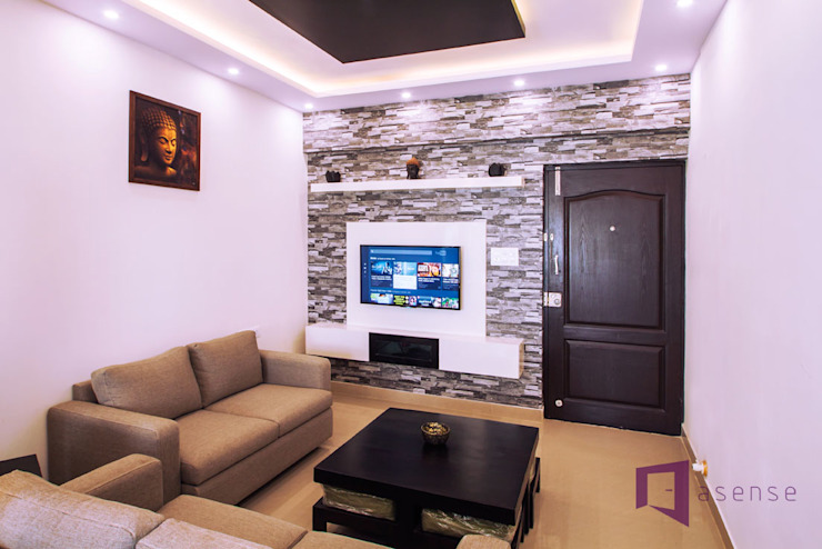 Entertainment Unit with Stone Cladding Asense Living roomSofas & armchairs Textile White