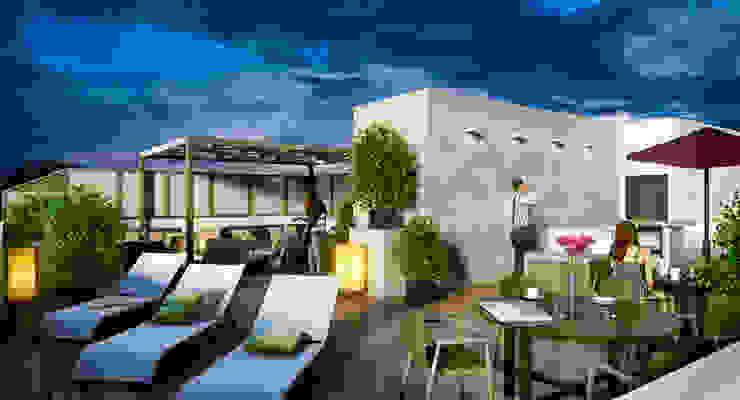 Venturi Residencial Balcones y terrazas modernos de IARKITECTURA Moderno Madera Acabado en madera