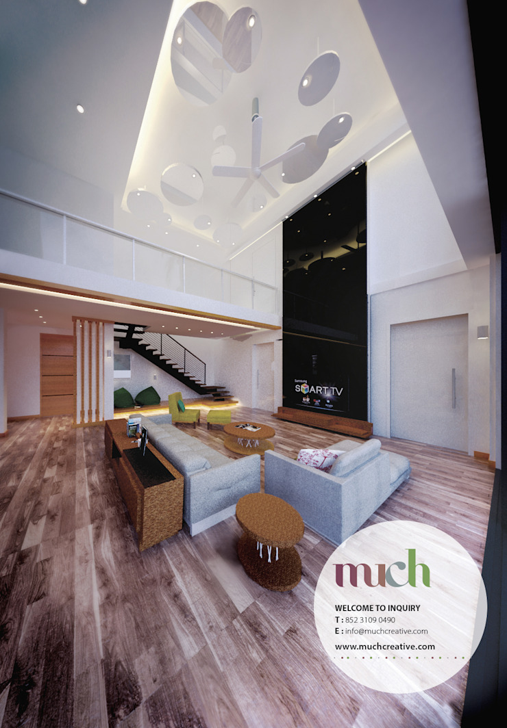 Living area Tropical style hotels by Much Creative Communication Limited Tropical Wood Wood effect