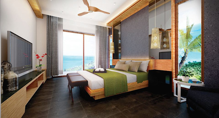 Bed Room Tropical style hotels by Much Creative Communication Limited Tropical Wood Wood effect