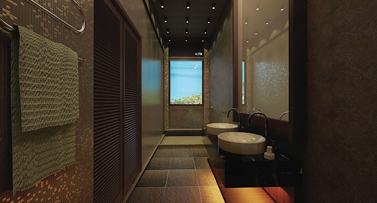 Washroom Tropical style hotels by Much Creative Communication Limited Tropical Wood Wood effect