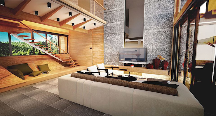 Living Room Tropical style hotels by Much Creative Communication Limited Tropical Wood Wood effect