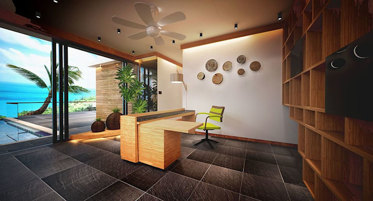 Working Area Tropical style hotels by Much Creative Communication Limited Tropical Wood Wood effect
