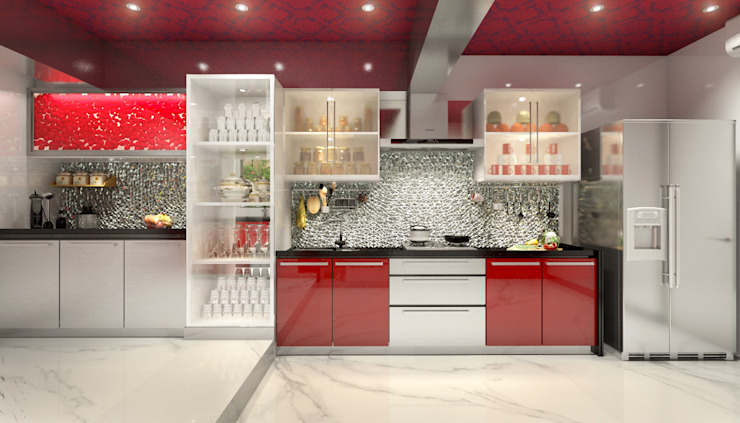 Lively Kitchen AAMRAPALI BHOGLE Classic style kitchen Glass Red
