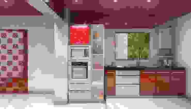 AAMRAPALI BHOGLE Cucina in stile classico Vetro Rosso