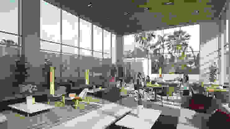 Salón de eventos Balcones y terrazas modernos de TaAG Arquitectura Moderno