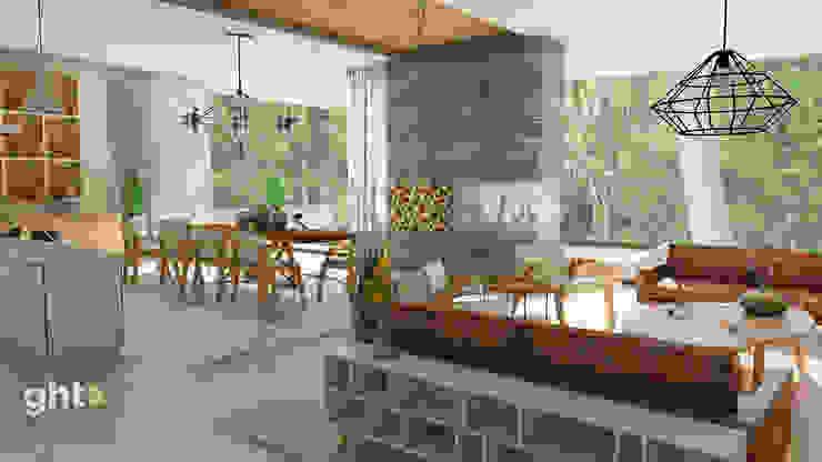 Interiorismo Casa Cañadas Salones modernos de GHT EcoArquitectos Moderno
