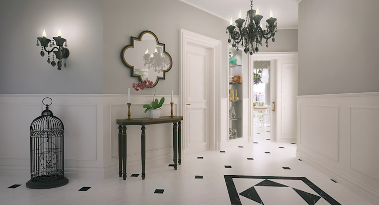 Country style corridor, hallway& stairs by I'Mimarlik Country Ceramic