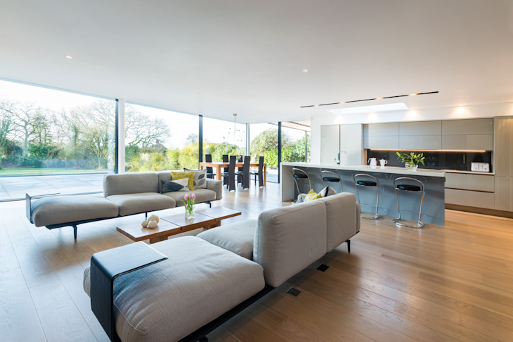 White Oaks Open Plan Kitchen, Dining and Living Area Modern living room by Barc Architects Modern