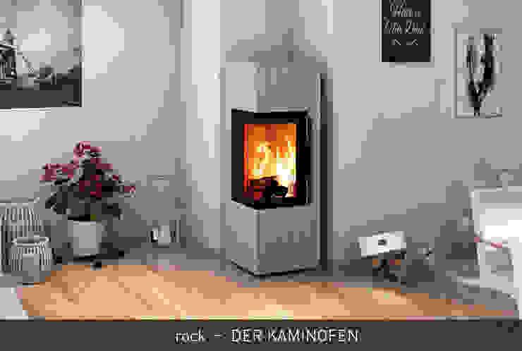 rock - DER KAMINOFEN CB stone-tec GmbH Moderne Wohnzimmer Stein Weiß