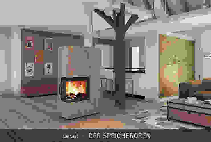 depot - DER SPEICHEROFEN CB stone-tec GmbH Moderne Wohnzimmer Stein Bernstein/Gold
