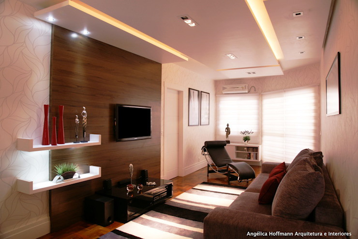 Modern living room by Angelica Hoffmann Arquitetura e Interiores Modern Wood Wood effect