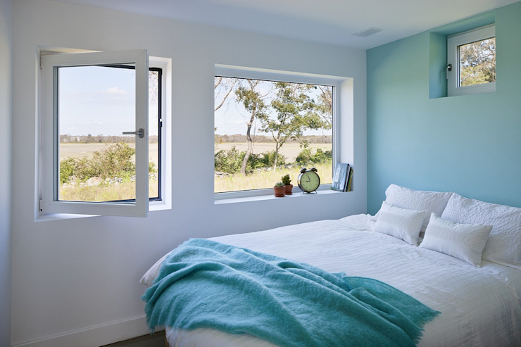 Bedroom ZeroEnergy Design Modern style bedroom Turquoise