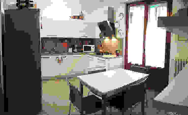 cucina appartamento MF Studio Gentile Cucina moderna Legno Bianco