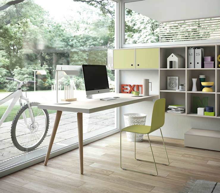 Nidi Modern Study Room and Home Office Engineered Wood Green