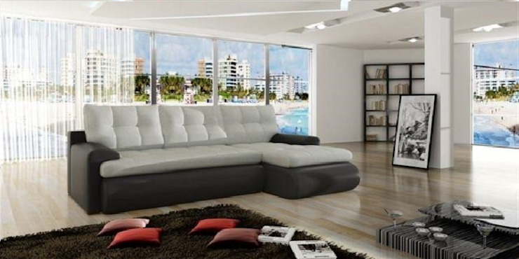 Grey Faux Leather Sofa Bed de Sofas In Fashion Moderno Piel sintética Metálico/Plateado