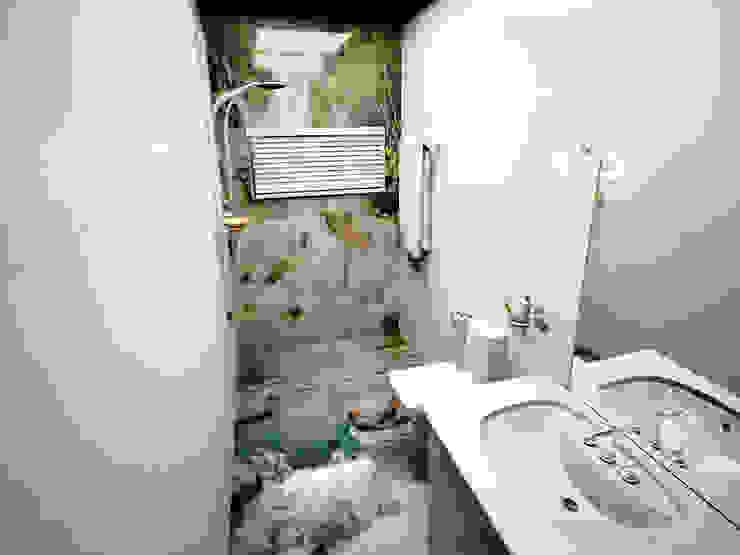 foto ściana i podłoga w łazience, efekt 3d, żywica Nowoczesna łazienka od homify Nowoczesny