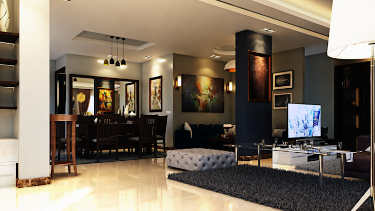 Modern Reception :  غرفة المعيشة تنفيذ Boly Designs,