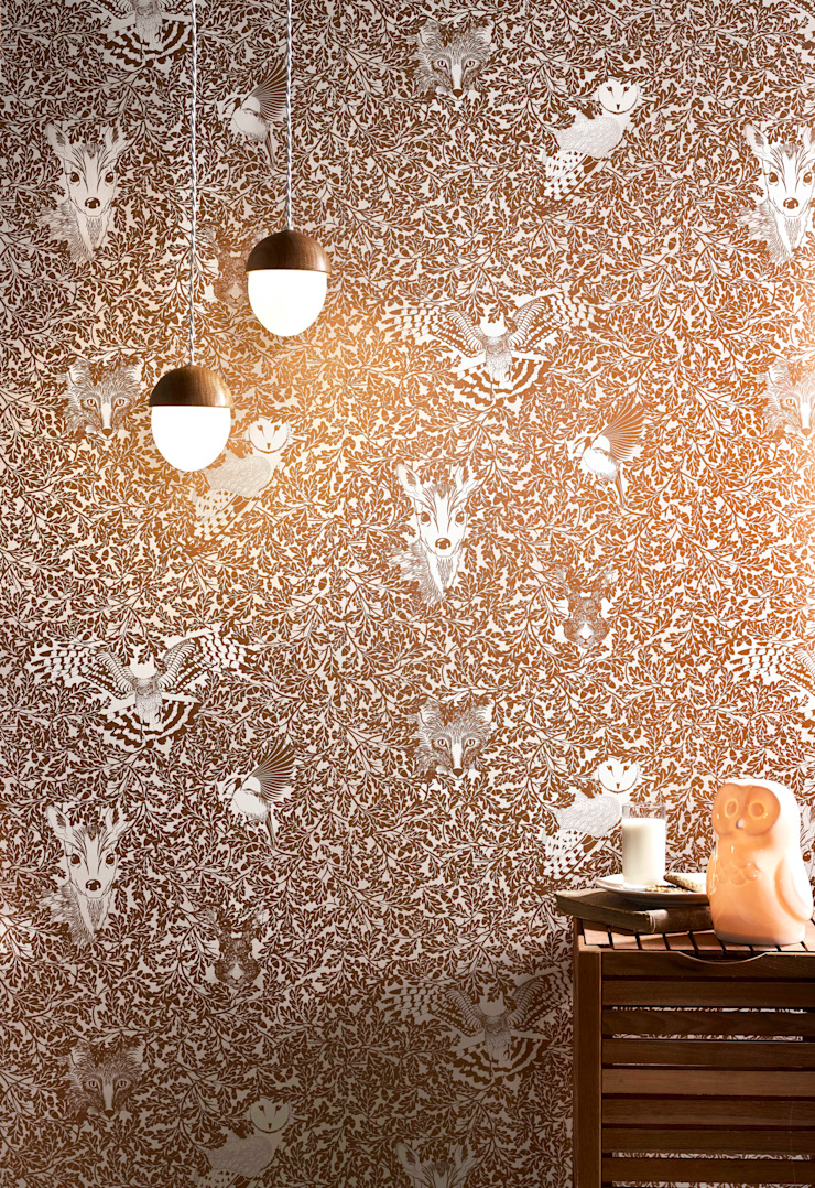 FOREST Copper Rust Metallic Screen Print Wallpaper 10m Roll Hevensent HogarAccesorios y decoración Metálico/Plateado