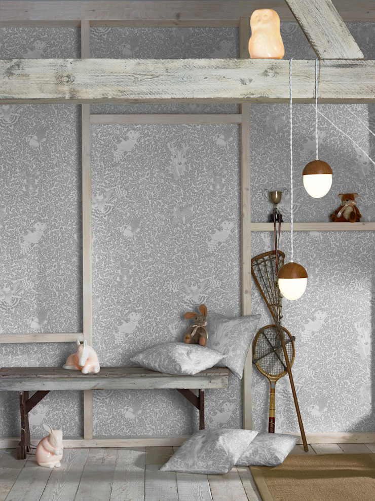 FOREST Dust Dove Grey Wallpaper 10m Roll Hevensent MaisonAccessoires & décoration Papier Gris
