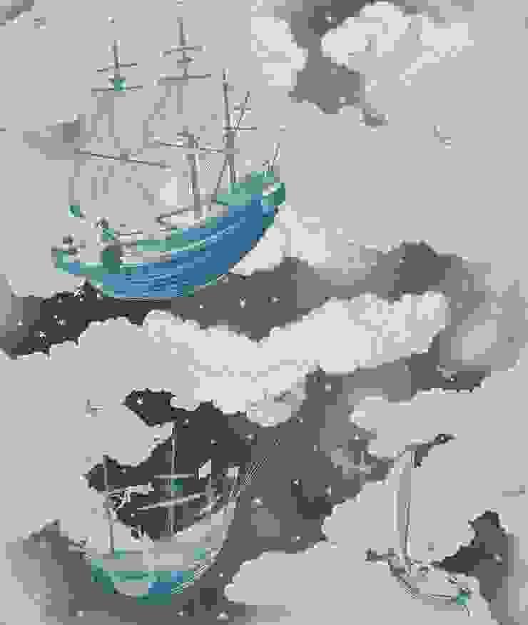 FISHING FOR STARS Midnight Wallpaper 10m Roll de Hevensent Clásico