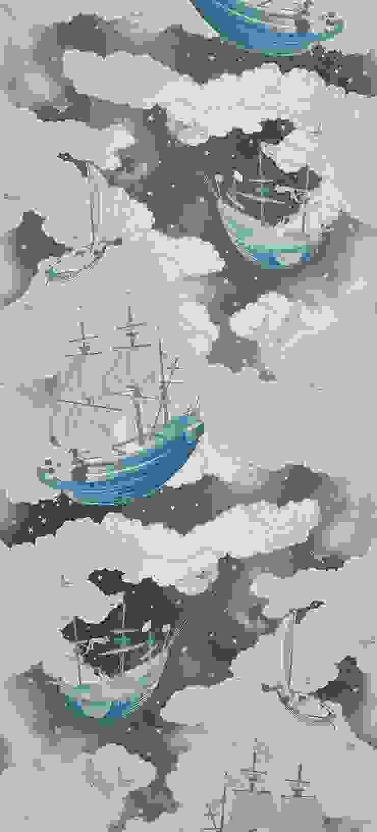FISHING FOR STARS Sky Blue Wallpaper 10m Roll de Hevensent Clásico