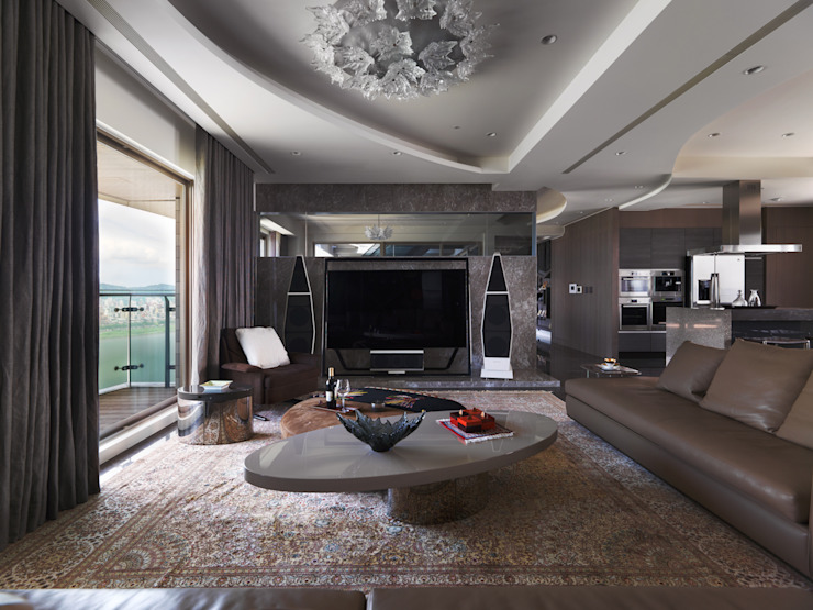 符號 现代客厅設計點子、靈感 & 圖片 根據 拾雅客空間設計 現代風