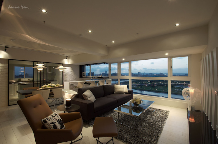 藏蘊-黑白琴鍵 现代客厅設計點子、靈感 & 圖片 根據 拾雅客空間設計 現代風