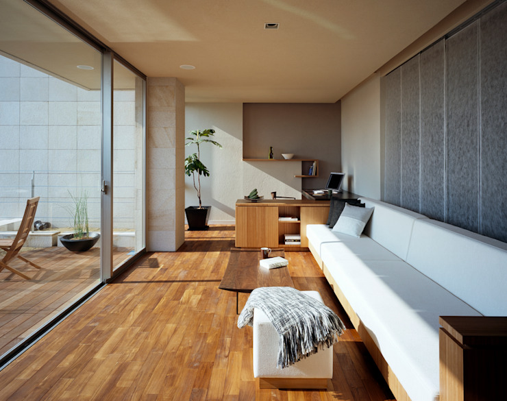 Living room by 森裕建築設計事務所 / Mori Architect Office, Modern