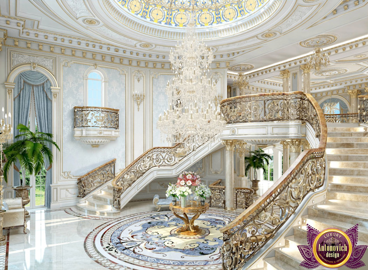 Beautiful house interior of Katrina Antonovich Classic style corridor, hallway and stairs by Luxury Antonovich Design Classic