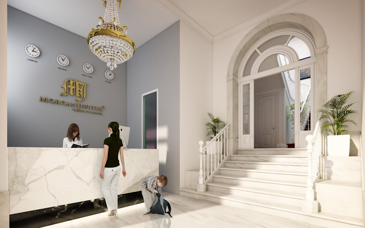 APARTAMENTO LUXO - T1 - AVENIDA DA LIBERDADE Corredores, halls e escadas modernos por EU LISBOA Moderno