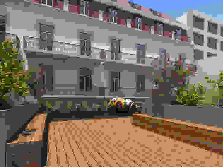 APARTAMENTO LUXO - T1 - AVENIDA DA LIBERDADE Varandas, marquises e terraços modernos por EU LISBOA Moderno