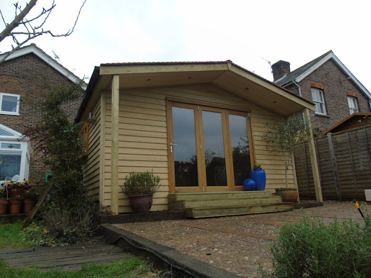 Pitched Roof Garden Office with Storage by Miniature Manors Ltd Rustic