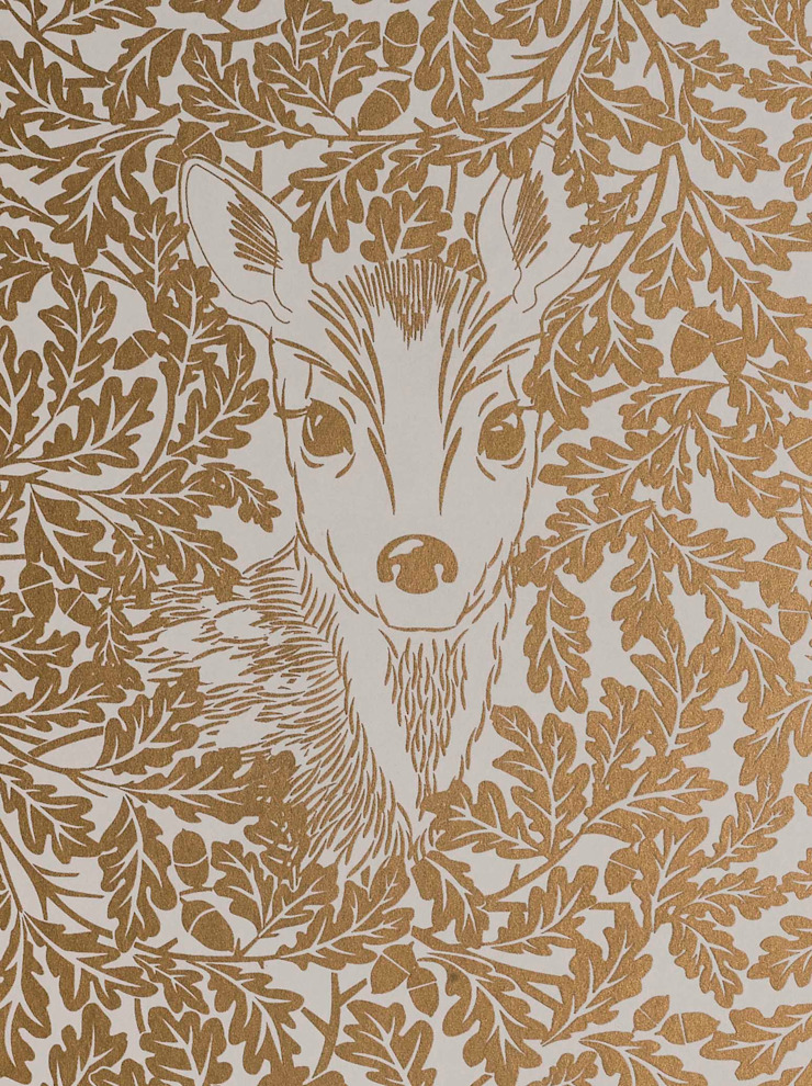FOREST Midas Gold Screen Print Wallpaper 10m Roll de Hevensent Clásico