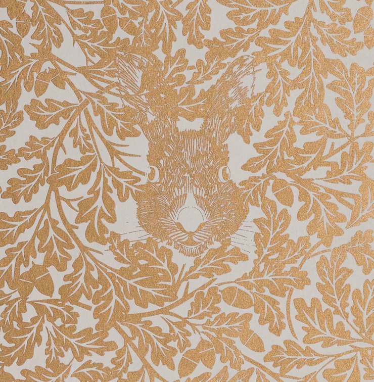 FOREST Midas Gold Screen Print Wallpaper 10m Roll de Hevensent Escandinavo