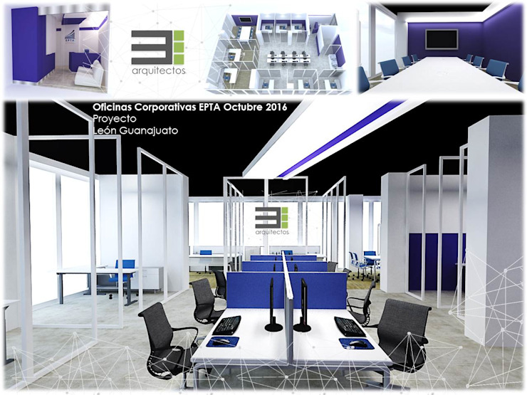 Oficinas Corporativas de TRES arquitectos Moderno Vidrio