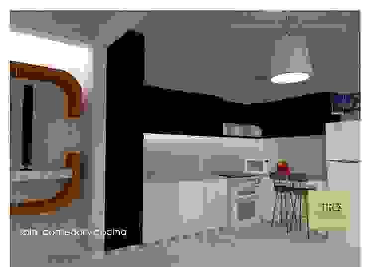 Casa Habitación Villahermosa Tabasco Centro. Cocinas modernas de TRES arquitectos Moderno Aglomerado