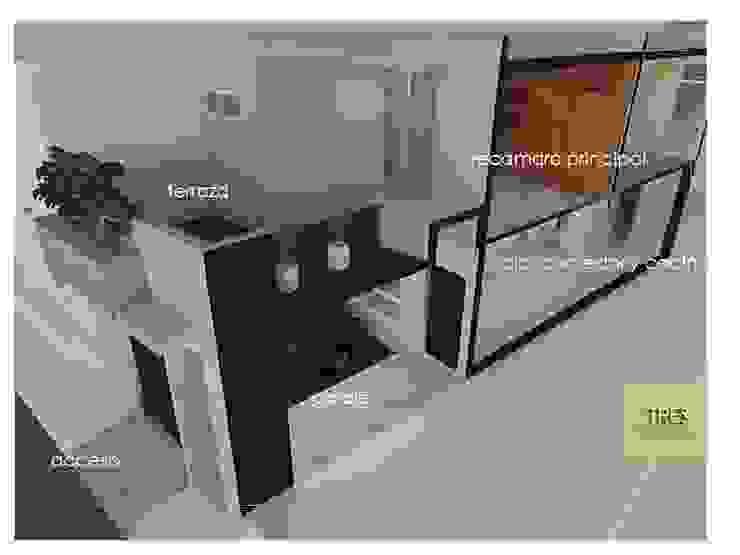 Casa Habitación Villahermosa Tabasco Centro. Balcones y terrazas modernos de TRES arquitectos Moderno Arenisca