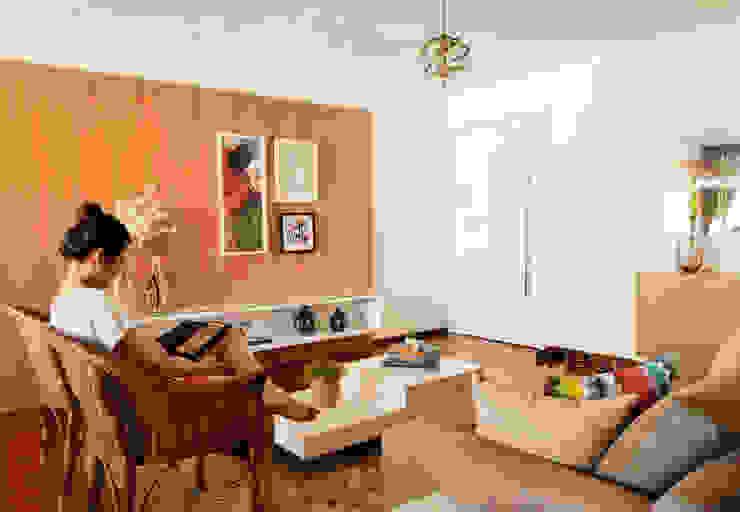 现代客厅設計點子、靈感 & 圖片 根據 Ladrilho Urbanismo e Arquitetura 現代風 MDF