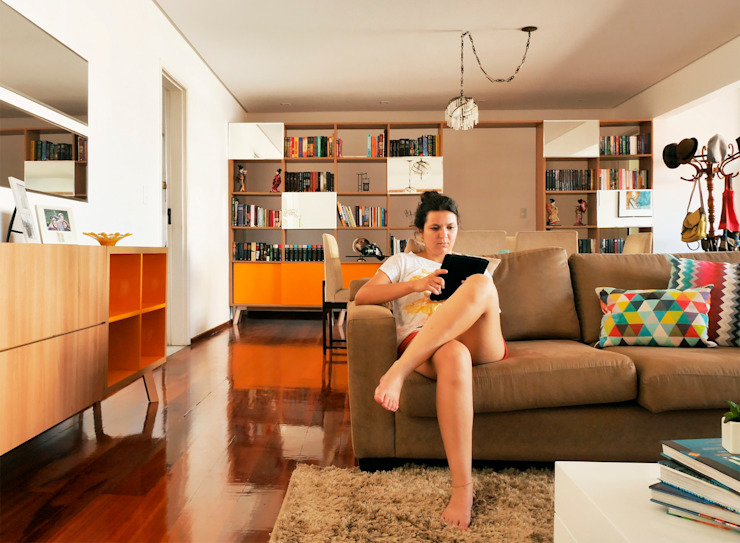 Sala de estar Salas de estar modernas por Ladrilho Urbanismo e Arquitetura Moderno Madeira Efeito de madeira