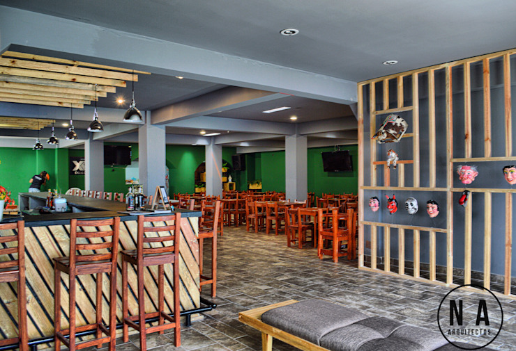 NA Arquitectos Modern bars & clubs Wood Grey