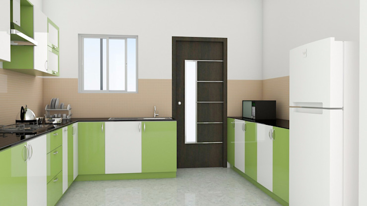 Modular Kitchen without Loft ServiceBELL Solutions PVT Ltd Modern kitchen Plywood Green