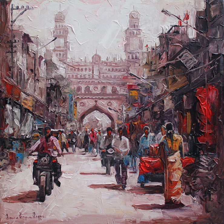 de Indian Art Ideas Moderno Algodón Rojo
