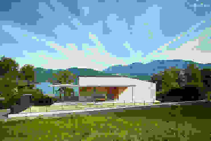 Blick auf Eingang Backraum Architektur Moderne Häuser Stein Beige